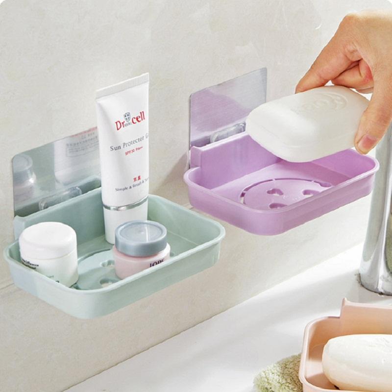 墙壁挂式香皂沥水肥皂盒卫生间置物架免打孔强力挂钩粘胶粘勾可爱