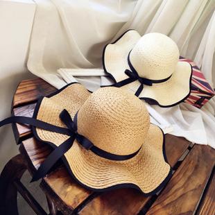 Шляпа море край лето солнцезащитный крем Большой прилегает к соломенная шляпа солнце большой брим песчаный пляж затенение крышка крышка лицо дикий корейская волна