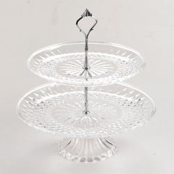 【折800官网】透明三层水果盘亚克力两层果盘ktv塑料多层蛋糕盘创意双层果盘架
