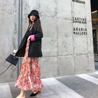 大moss 新款秋季休闲长袖上衣女袖口撞色袖口开假衩西装外套