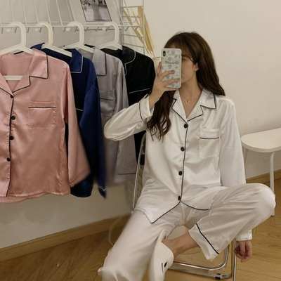 taobao agent Spring and autumn 2021 new female Korean style lazy style niche satin loose pajamas suit two-piece home service