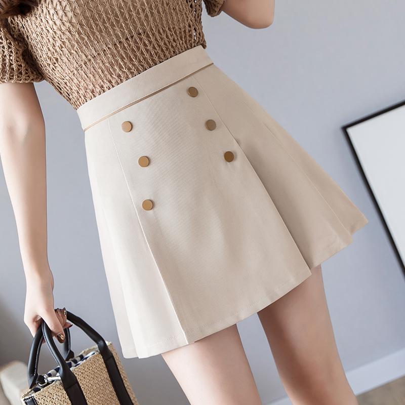不规则防走光a字裙半身裙女秋装新款高腰双排扣包臀裙短裙子