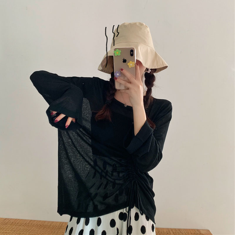 牛油果绿t恤女夏新款宽松抽绳长袖冰丝打底针织衫防晒罩衫上衣秋