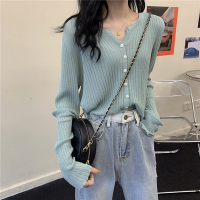 taobao agent Cardigan women's knitted top all-match thin spring and autumn new style 2021 long-sleeved sweater loose soft waxy jacket