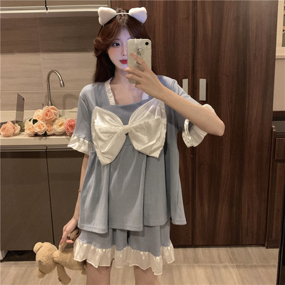 taobao agent Pajamas women summer 2021 new thin suit short-sleeved cute bow net celebrity explosion home service two-piece suit