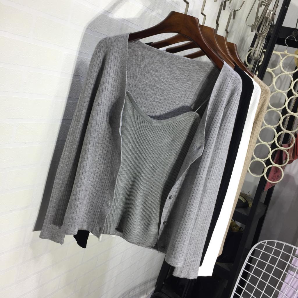 Phù hợp với mùa thu vest của phụ nữ + đan áo len thời trang hai mảnh 2017 mới đan vest dài tay cardigan Cardigan
