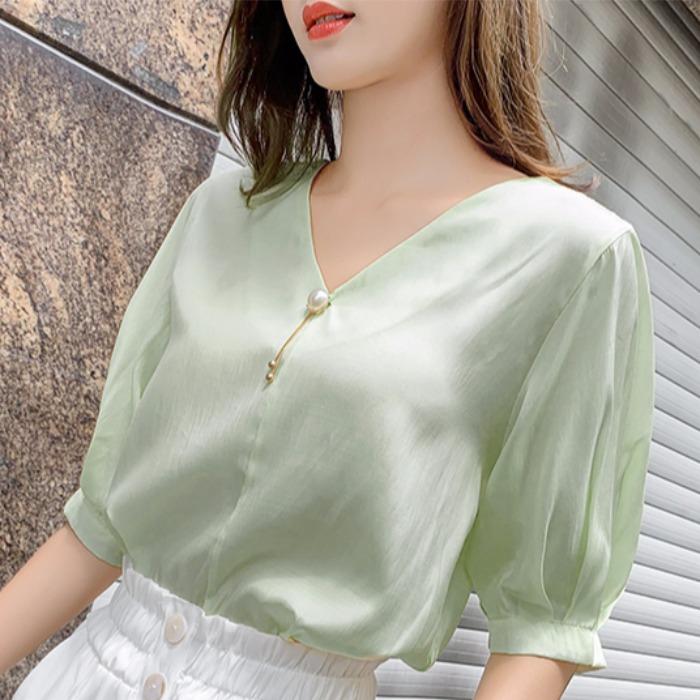 气质V领上衣显瘦洋气短袖超仙女士衬衫