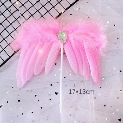 粉色唯美钻石翅膀羽毛蛋糕装饰