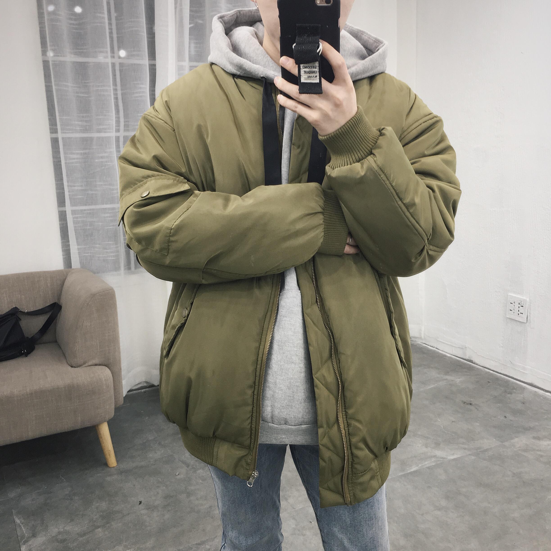 美丽的脏店 韩国冬新款港风加厚纯色棒球领棉衣外套潮男宽松棉服