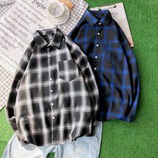 男士宽松格子衬衫外套夏季长袖休闲学生上衣韩版衬衣潮流TX03-P28