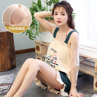 夏季针织棉质女士无袖吊带睡衣套装女式可拆卸带胸垫家居服