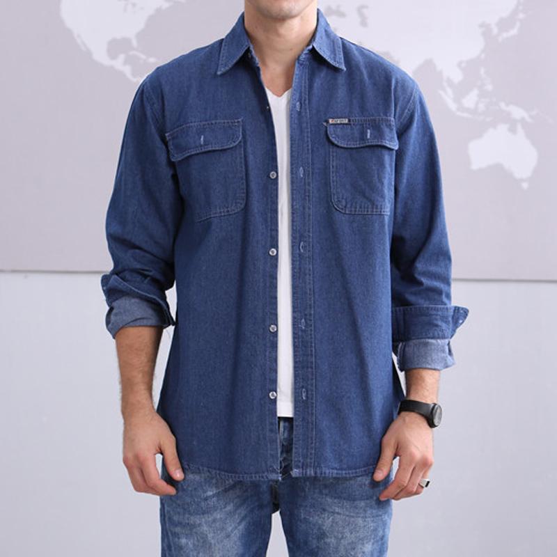 Mens cotton denim shirt casual leisure long sleeve loose for Mens denim work shirt