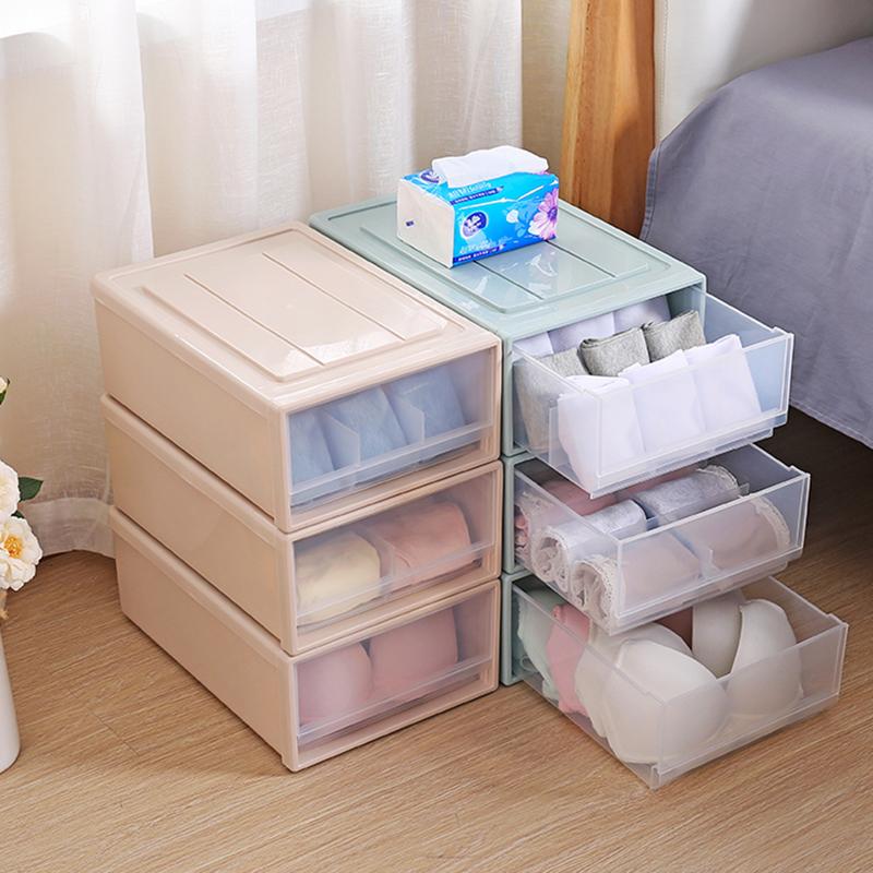 抽屉式内衣收纳盒塑料内衣盒子 透明分格袜子内衣裤收纳箱 T