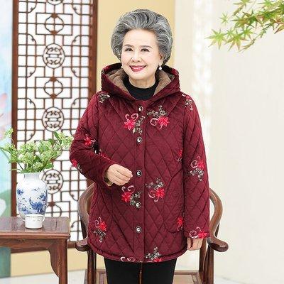 老年人冬装女外套60-70岁奶奶装加绒棉衣妈妈装加厚保暖老人棉服