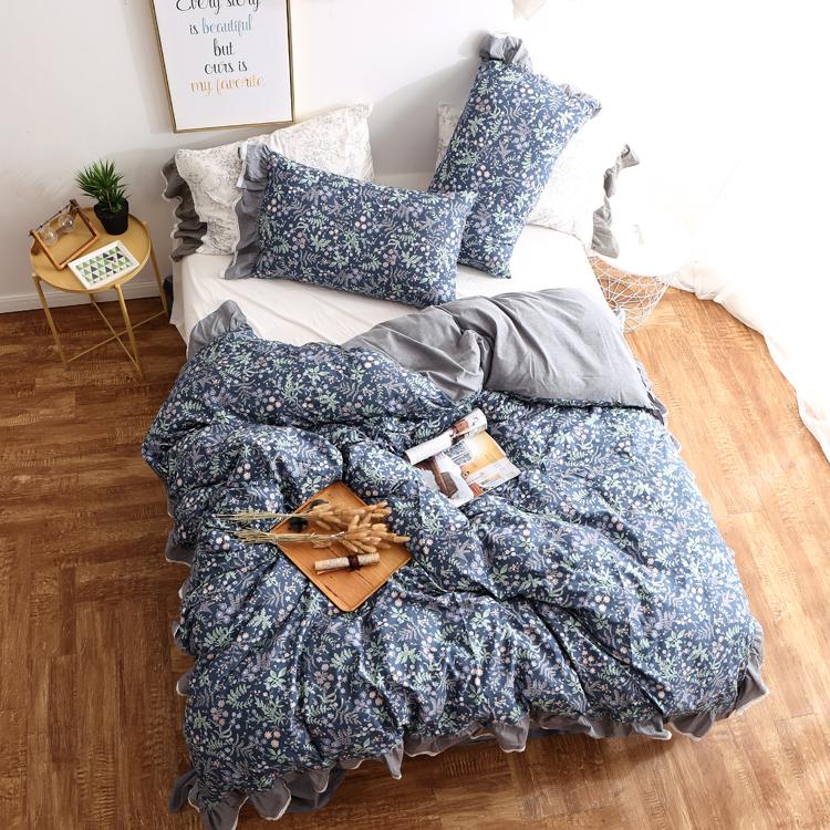 公主风蕾丝花边床上四件套床单款 网红ins全棉色织水洗棉被套床品