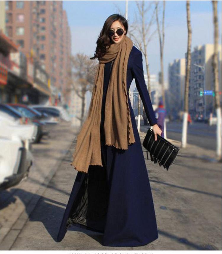 Len áo khoác nữ mùa thu và mùa đông dài Châu Âu và Mỹ tính khí mới siêu dài tự trồng len áo khoác dày mỏng áo gió Áo khoác dài