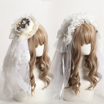 taobao agent Lolita headdress generation color Lolita hair accessories white flower wedding black butterfly hand-made can be used with Miss Fula small objects