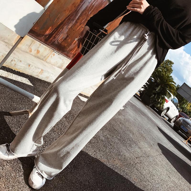 运动裤女高腰灰色薄款2018新款宽松ins超火的裤子休闲垂感阔腿裤