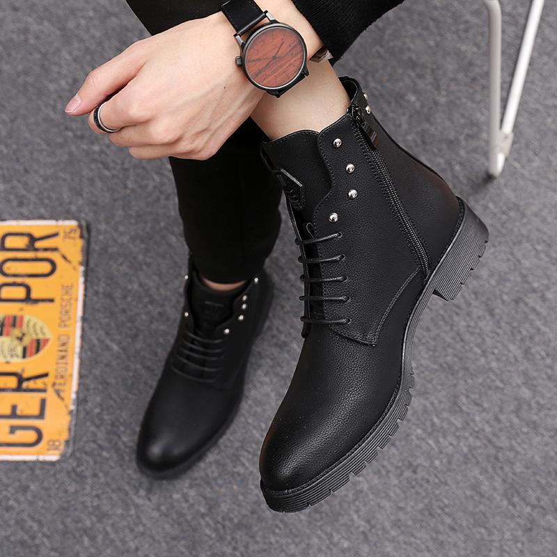 Giày đế xuồng Martin 2019 mùa thu mới, giày cao cổ nam phiên bản Hàn Quốc xu hướng hoang dã Phong cách Anh mũi nhọn ngắn - Giày ống