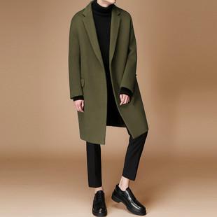 2018韩国秋冬款男士呢大衣青年中长款毛呢外套韩版羊毛呢子大衣男