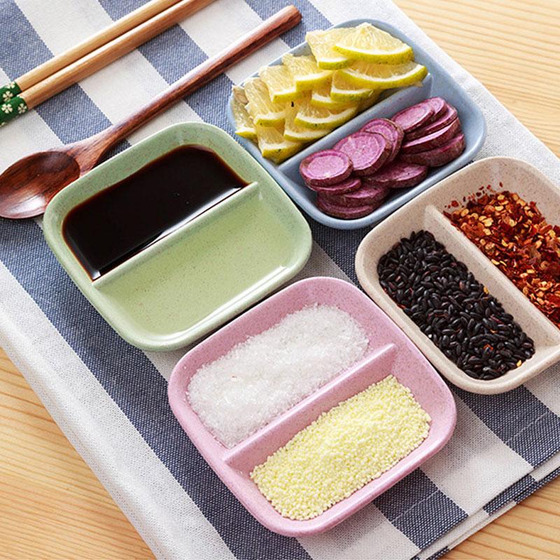 小麦秸秆家用醋碟酱料创意蘸酱碟咸菜碟小盘子两格分隔日式碟子