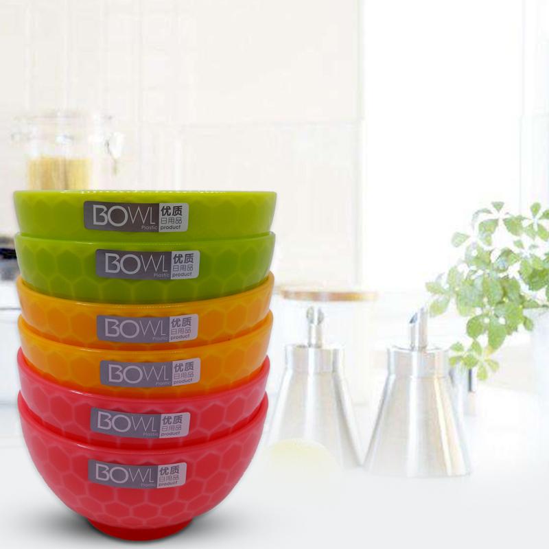 塑料碗家用成人彩色防摔米饭碗大号吃饭碗汤碗甜品快餐水果沙拉碗