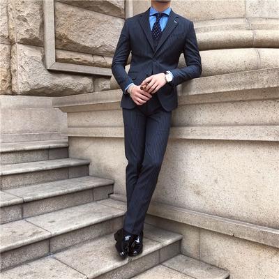 鹿三先生雅痞男士修身条纹刺绣西服套装休闲修身西装两件套男