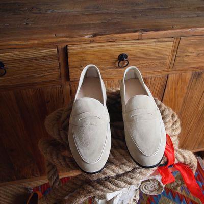 鹿三先生男士一脚蹬套脚鞋绅士日常英伦素面休闲乐福鞋时尚潮男