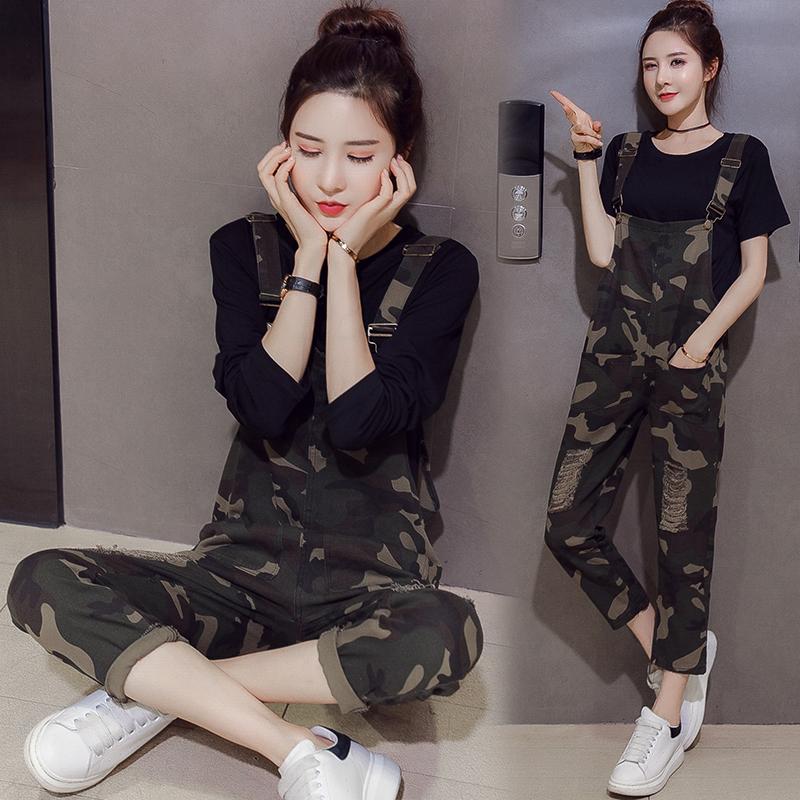 实拍 夏季新款韩版T恤+个性迷彩牛仔背带裤两件套(小视频)