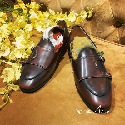秋冬亮面潮流休闲皮鞋男士百搭时尚牛皮皮鞋套脚低帮青年皮鞋