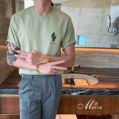 港风潮流帅气绣花圆领短袖T恤宽松时尚百搭复古纯棉纯色打底衫T恤
