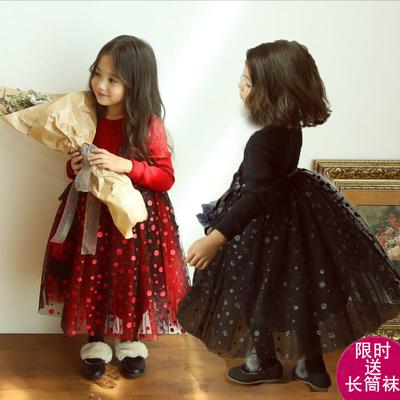 冬装新款女童加绒网纱连衣裙儿童加厚圣诞新年裙喜庆红公主裙