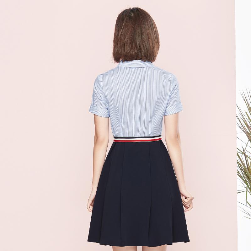 [Giá mới 149 nhân dân tệ] Shangdu Biala 2018 mùa hè mới phong cách sọc đầm ngắn tay Một chiếc váy áo từ