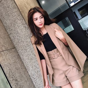 Korean version of the British European and American temperament fashion cloak-style jacket suit suit women casual small suit two-piece suit women