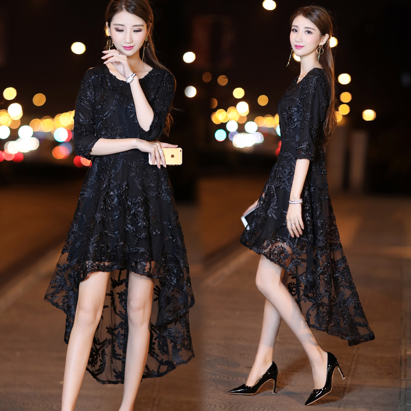 连衣裙2018春夏新款女装韩版气质名媛不规则前短后长中长款蕾丝裙