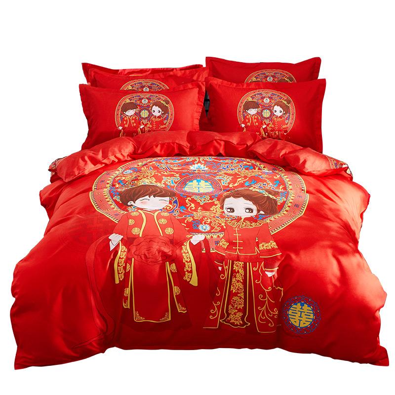加厚纯棉结婚大红色全棉婚庆四件套1.8m2.0m床双人新婚喜庆公主风