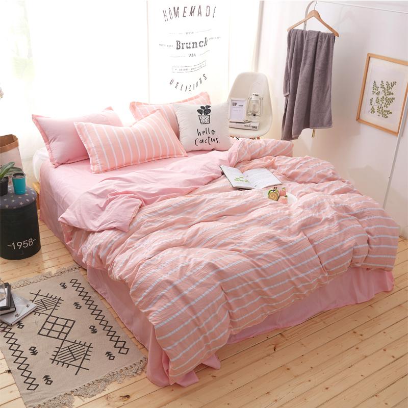 新款简约全棉四件套1.8m床单水洗棉双人纯棉床上用品被套三件套