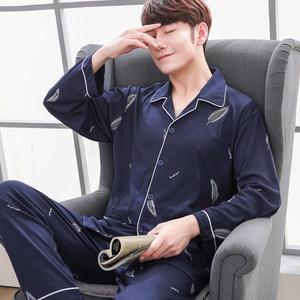 睡衣男士纯棉长袖春秋全棉男式秋冬薄款韩版开衫中青年家居服套装