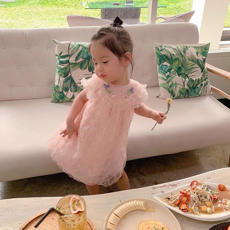 宝贝小象夏季新款甜美定制绣花字母网纱仙仙裙女童宝宝连衣裙