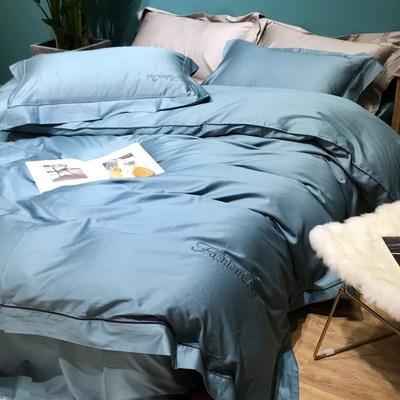 简约60支长绒棉四件套全棉纯棉贡缎被套纯色床单床笠酒店床上用品