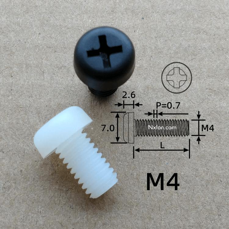 尼龍螺絲-國標M4.0十字圓頭尼龍螺絲