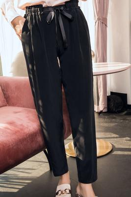 2018 mùa hè mới quần hậu cung lụa dâu tằm tơ lỏng lẻo kích thước lớn màu đen tie đàn hồi eo chín quần phụ nữ