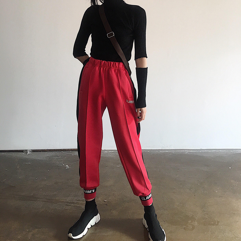 Hồng Kông- phong cách đường phố gió đàn hồi eo lỏng thư quần chùm bên của mặt bên của dải màu đen và màu đỏ tương phản màu giản dị hậu cung quần phụ nữ
