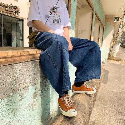 老爹裤男女潮流字母印花宽松直筒牛仔裤港味街头百搭阔腿牛仔裤