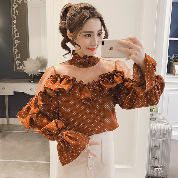 Korean Dot Bell Sleeve High Collar Female Chiffon Shirt