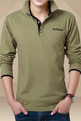 Đặc biệt hàng ngày chống mùa giải phóng mặt bằng ve áo dài tay T-Shirt nam kinh doanh bình thường Slim stretch cotton polo shirt đáy áo thun thể thao nam Áo phông dài