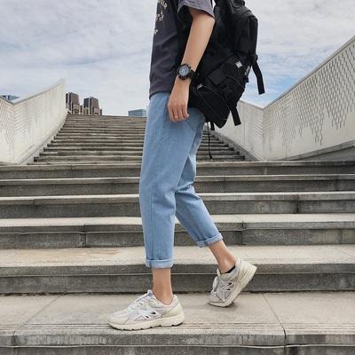 港风九分牛仔裤潮牌宽松直筒裤子男生夏季潮流学生休闲裤