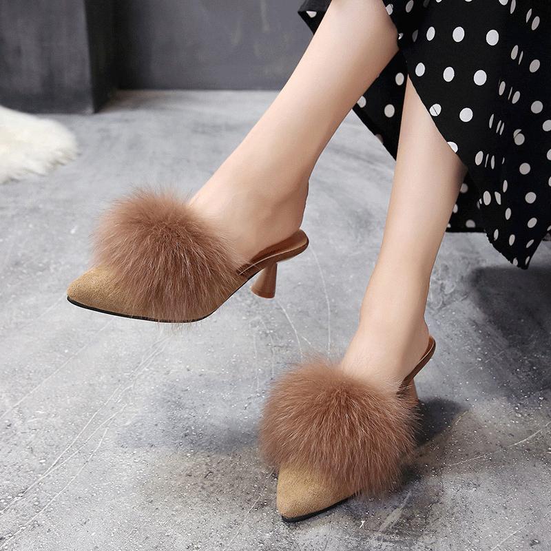 Giày sang trọng nữ tiên dép 2020 mùa xuân và mùa hè Giày cao gót mỏng ở gót Baotou lưới đỏ nửa kéo nữ mặc xã hội - Dép