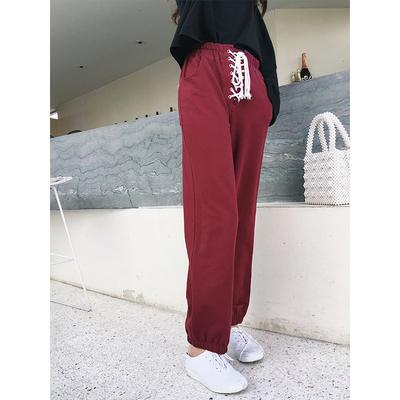 运动裤女学生宽松原宿bf张大奕裙子卖掉了宽松休闲潮绑带运动裤子