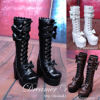 taobao agent BJD/SD 4 points 3 points doll shoes lolita bow tie mid-up boots 1/4, 1/3 three colors